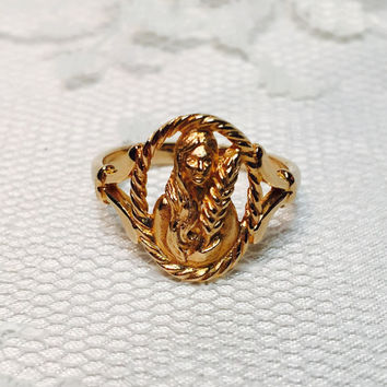 Vintage Avon Zodiac Astrology Ring Size 6 1/4 Virgo Gold Tone Ring