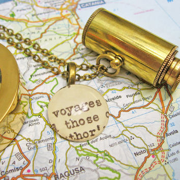 Mini Collapsible Spyglass Telescope Voyages Reclaimed Library Card Extra Long Nautical Brass Unisex Necklace