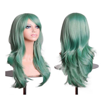 "27.5"" 70cm Long Wavy Curly Cosplay Fashion Mermaid Fantasy Wig heat resistant  light green"