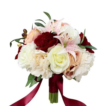 Bridal Bouquet - Blush Pink, Apple Red, and Ivory with Silk Roses, Peonies, and Lilies