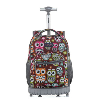 TILAMI Luggage 18 Inch Rolling Backpack Wheeled Book Bag Kids Children Trolley School Bag Laptop Bag Travel Backpack for Girls