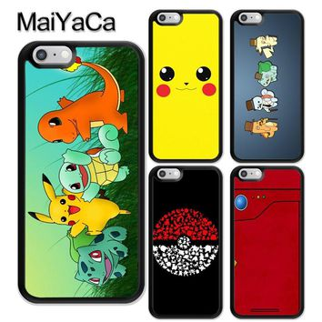 MaiYaCa POKEMONS POKEBALL PIKACHUS Soft Rubber Phone Cases For iPhone 6 6S 7 8 Plus X 5 5S SE Back Cover Skin Shell Coque