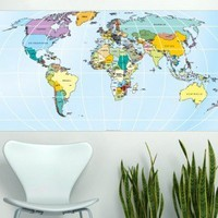 Rectangular World Map Sticker - Moon Wall Stickers