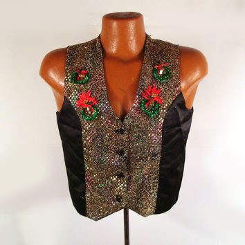 Ugly Christmas Sweater Vintage Cardigan Vest Sequin M