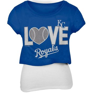Kansas City Royals - Glitter Love Girls Juvy T-Shirt w/Tank - Juvy 8