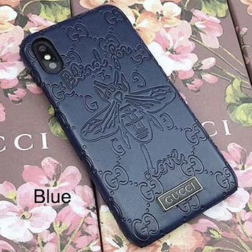 GUCCI Tide brand embossed bee leather iPhone8 mobile phone case cover blue