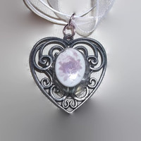 BOGO Sale Antique Style Silver Heart Pendant with White Cameo with Purple Flowers Resin Now With Ribbon Necklace Free Shipping