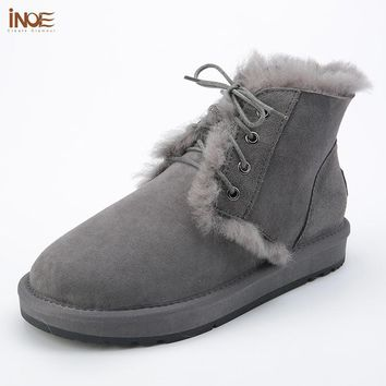 INOE 2018 Women Snow Boots Sheepskin Fur Lined Lace up Flat Winter Grey Ankle Leather Boots Booties Wool Shoes Large Size 10