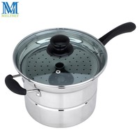 Multifunction Stainless Steel Noodle Pot Saucepan 22CM Pasta Pots Single/Double Bottom Steamer Pan Kitchen Boiler With Strainer