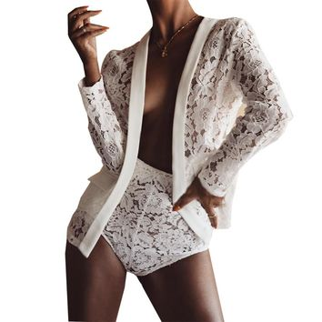 Two Pieces Set Lace Hollow Out Women Bodycon Outfits Cardigan Shorts Set Sexy Nightclub Wear Long Sleeve Women Lace Shorts Set