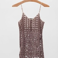 Gimmicks By BKE Pieced Lace Henley Tank Top