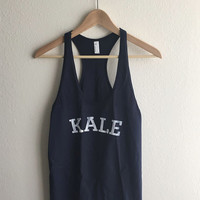 Kale Navy Blue Vintage Ivy League Typography Tank Top