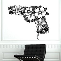 Revolver Pattern Flowers Wall Decor for Home Room Decals Sticker Vinyl Decal Art Murals Decal Interior Design Ah159