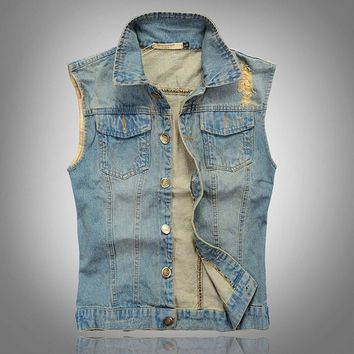 Men's Comfortable Stylish Cool Denim Vest Jacket Light Blue