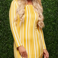 No One Like You Striped Dress (Ivory/Mustard)