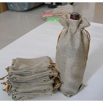 "Pack of 20 Jute Flax Linen Wine Bottle Packaging Bags 15 x 35 cm (6"" x 13.75"")"