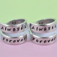Always&Forever - Spiral Rings Set, Hand Stamped, Handwritten Font, Shiny Aluminum, Friendship, BFF