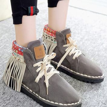 New Grey Round Toe Flat Tassel Cross Strap Casual Ankle Boots