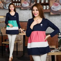 Maternity Cotton Solid color Plus size T-shirt Maternity blouse Wo clothing For pregnant  Spring Autumn Fashion Top