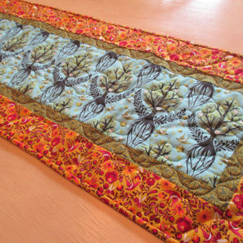 Modern Table Runner , Table Runner with Birds , Tree Of Life , Tula Pink