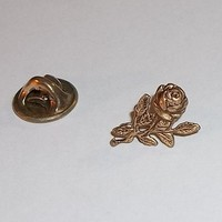 Vintage Long Stemmed Rose Brass Lapel / Hat Pin