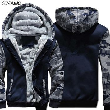 USA SIZE Super Warm Hoodies Sweatshirts Winter Thicken Fleece Camouflage Men's Jackets Zipper Hooded Coats Clothes New