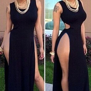 Black High Side Slits Cutout Maxi Dress