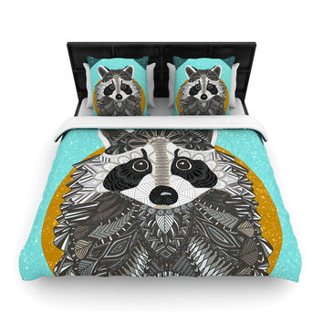 """Art Love Passion """"Racoon in Grass"""" Gray Teal Woven Duvet Cover"""