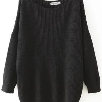 Oversized Scoop Neck Long Sleeve Loose Sweater