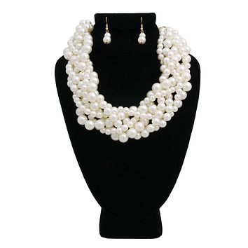 Cream Pearl Multi Strand Twisted Necklace Set