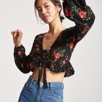 Floral Self-Tie Crop Top