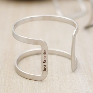 Just Breathe Hidden Mantra Cuff Bracelet