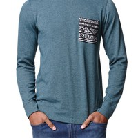 On The Byas Deep Ethnic Pocket Crew Shirt - Mens Shirt - Blue
