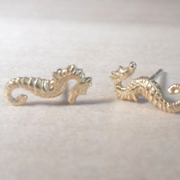 Seahorse Stud Earrings on 925 sterling silver posts