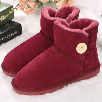 UGG fashionable ladies cowhand matte cotton boots low boot flat heel snow shoes