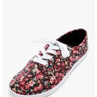 Black Walking On Flowers Floral Print Sneakers | $10.00 | Cheap Trendy Sneakers Chic Discount Fashio