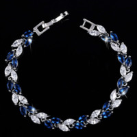 Sapphire Marquise Leaf Swiss CZ Diamonds Tennis Bracelet
