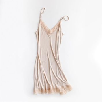 spring and summer silk loose v neck lace ruffles spaghetti straps nightgown sexy female full slip solid