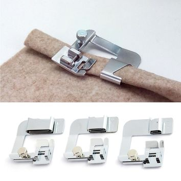 "3Pcs Set Presser Foot Stainless Steel Domestic Sewing Machine Parts Hemmer Foot 4/8"" Rolled Hem Foot Household Sew Accessories"