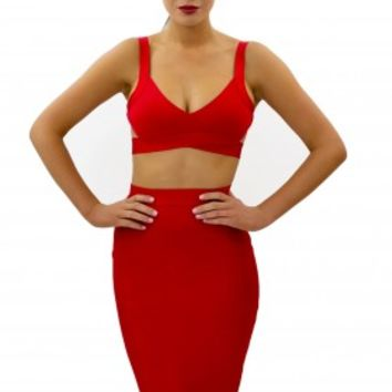 """SAVANNAH"" Red Bandage Twin-Set - BEST SELLERS RESTOCKED"