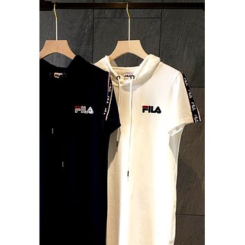 FILA 2019 new embroidered letters women's paragraph wild pull hooded skirt