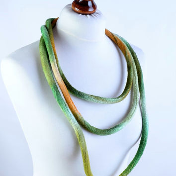 Very long, large and massive, green & orange felt necklace - thick rope, cord, big, soft, cozy and warm designer felted loop [N135]