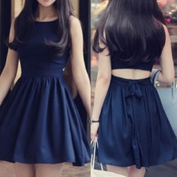 Summer Cute Women Sleeveless Party Dress Dark Blue Color [7688018758]