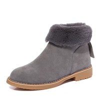 Winter Boots Snow Plush Ankle Boots Flock Zip Warm Shoes