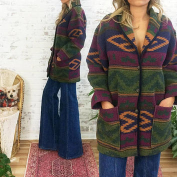 Vintage 1980's NAVAJO Blanket Coat || Italian Made Southwestern Jacket || Size Medium Oversized Small