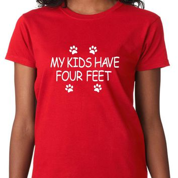 My Kids Have Four Feet - Women's Dog Lover Shirt, Size: Adult M, Red