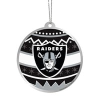 Oakland Raiders  Official NFL Metal Ornate Ball Ornament