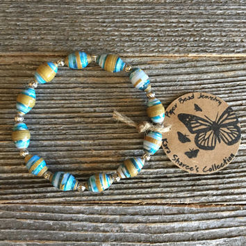 Paper Bead Jewelry, Ice Blue/Gold Beaded Bracelet, Paper Bead Jewelry, Stretchy Bracelet, Christmas Gift, Gift for Women - Item# 053