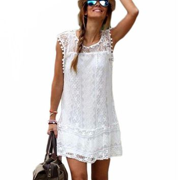 Sexy Summer Women Dress Casual Sleeveless Beach Short Ladies Girls Tassel Solid White Mini Lace Dress Plus Size designer clothes