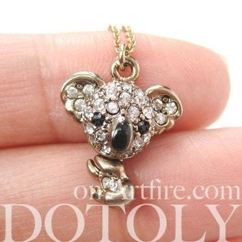 Koala Bear Adorable Animal Pendant Necklace in Dark Silver with Rhinestones